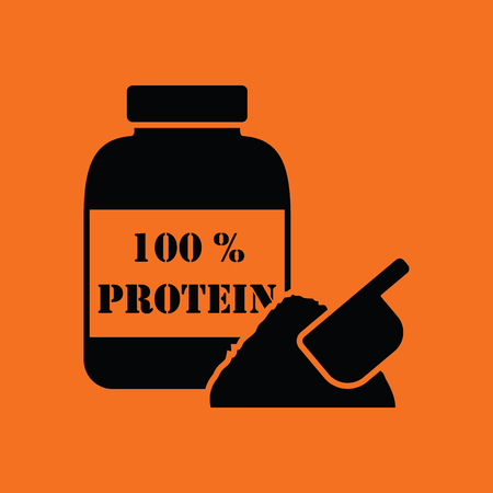 protein food: Protein container icon. Orange background with black. Vector illustration.