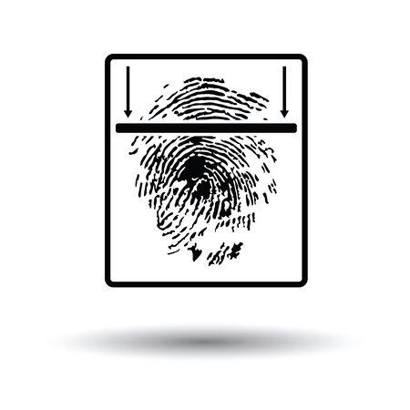 fingermark: Fingerprint scan icon. White background with shadow design. Vector illustration.