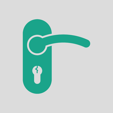 Door handle icon. Gray background with green. Vector illustration.