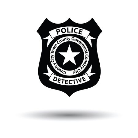 Police badge icon. White background with shadow design. Vector illustration. Illustration