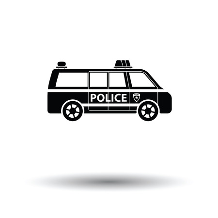highway patrol: Police van icon. White background with shadow design. Vector illustration.
