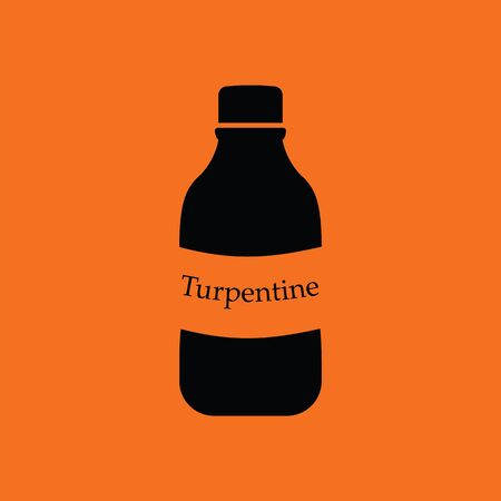 paint container: Turpentine icon. Orange background with black. Vector illustration. Illustration