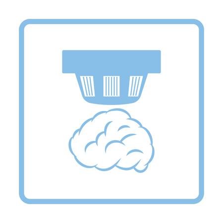 Smoke sensor icon. Blue frame design. Vector illustration.