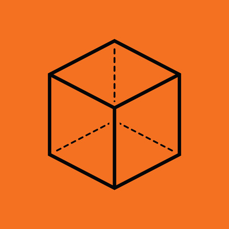 guideline: Cube with projection icon. Orange background with black. Vector illustration. Illustration