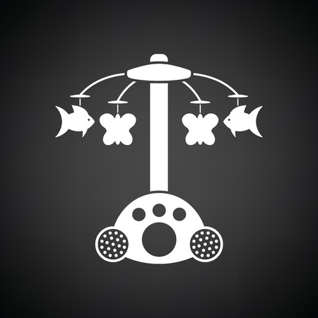 Baby carousel icon. Black background with white. Vector illustration.