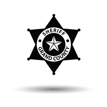 bobby: Sheriff badge icon. White background with shadow design. Vector illustration.