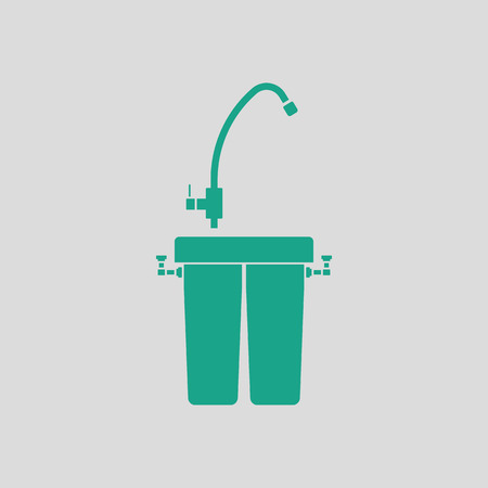 water filter: Water filter icon. Gray background with green. Vector illustration. Illustration