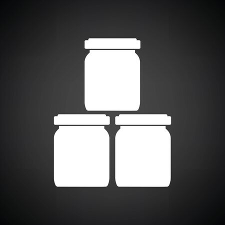 puree: Baby glass jars icon. Black background with white. Vector illustration.