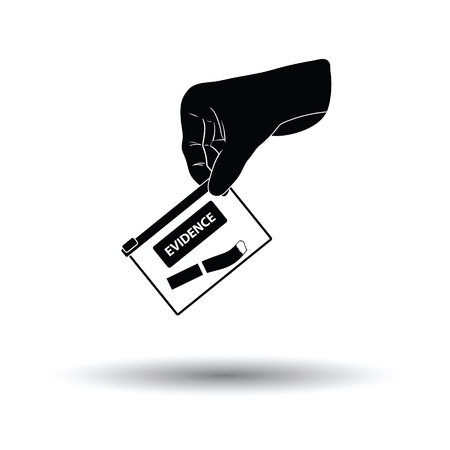 Hand holding evidence pocket icon. White background with shadow design. Vector illustration.
