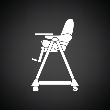 Baby high chair icon. Black background with white. Vector illustration. Illustration