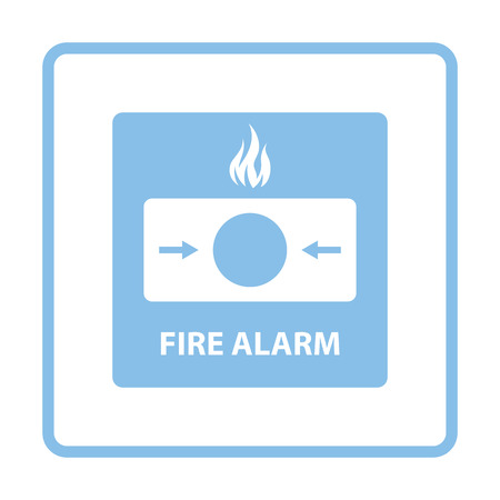 burglar alarm: Fire alarm icon. Blue frame design. Vector illustration.