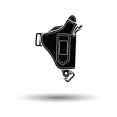 holster: Police holster gun icon. White background with shadow design. Vector illustration.