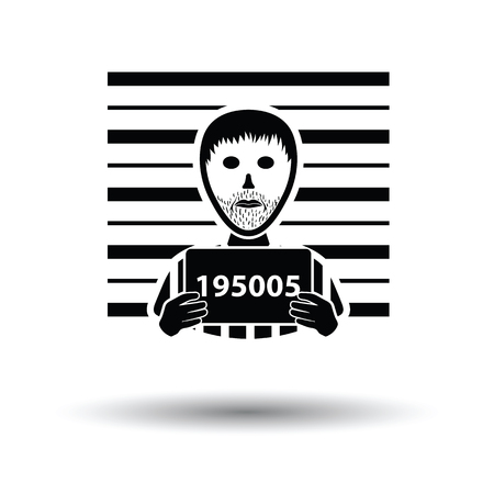 Prisoner in front of wall with scale icon. White background with shadow design. Vector illustration. Illustration