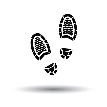 Man footprint icon. White background with shadow design. Vector illustration.