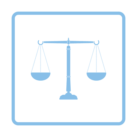 Justice scale icon. Blue frame design. Vector illustration.