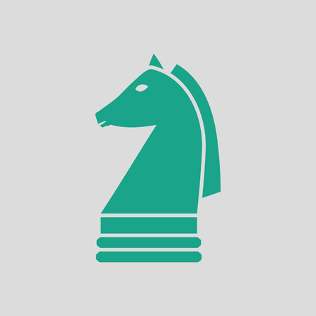Chess horse icon. Gray background with green. Vector illustration.