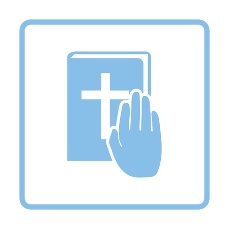 serious business: Hand on Bible icon. Blue frame design. Vector illustration.