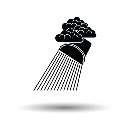 raincloud: Rainfall like from bucket icon. White background with shadow design. Vector illustration.
