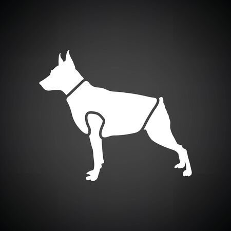 clothed: Dog cloth icon. Black background with white. Vector illustration. Illustration