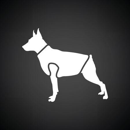 Dog cloth icon. Black background with white. Vector illustration. Illustration