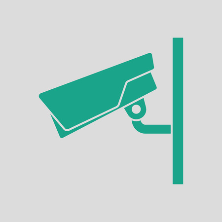 monitored area: Security camera icon. Gray background with green. Vector illustration. Illustration
