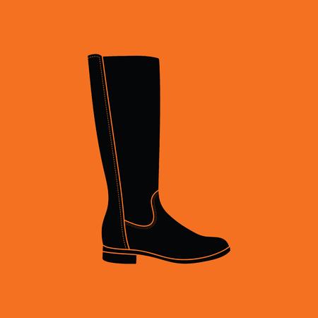Autumn woman boot icon. Orange background with black. Vector illustration. Illustration