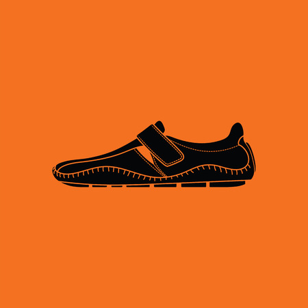 Moccasin icon. Orange background with black. Vector illustration.