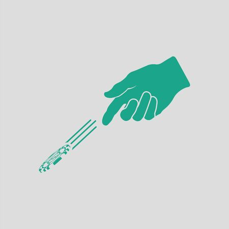 Hand throwing gamble chips icon. Gray background with green. Vector illustration. Illustration