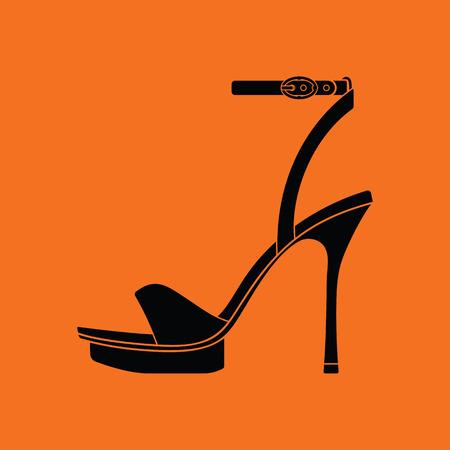 calcanhares: Mulher ícone sandália de salto alto. Fundo alaranjado com preto. ilustração do vetor.