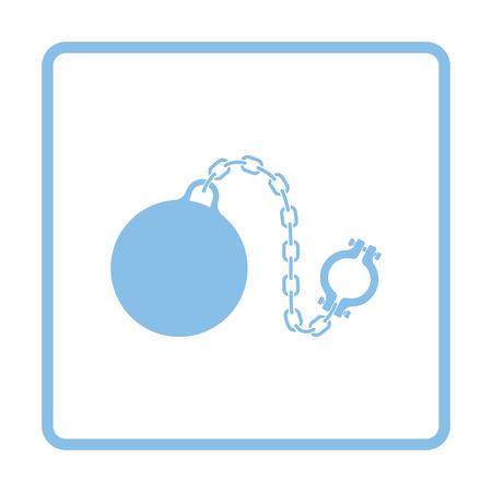 Fetter with ball icon. Blue frame design. Vector illustration. Illustration