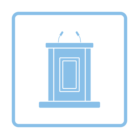 witness: Witness stand icon. Blue frame design. Vector illustration. Illustration