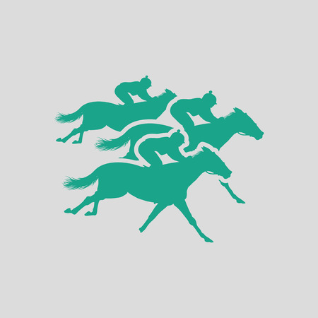 derby: Horse ride icon. Gray background with green. Vector illustration.