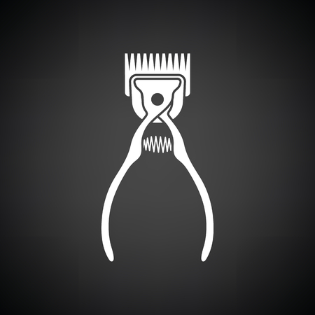 groomed: Pet cutting machine icon. Black background with white. Vector illustration.