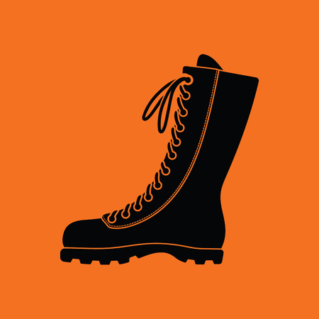 hiking boot: Hiking boot icon. Orange background with black. Vector illustration.