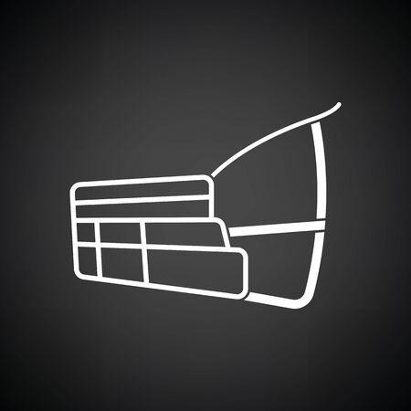animal mouth: Dog muzzle icon. Black background with white. Vector illustration.