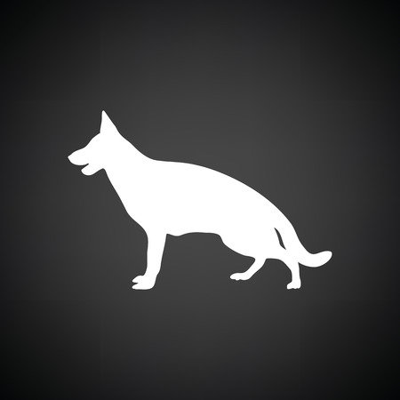 German shepherd icon. Black background with white. Vector illustration.