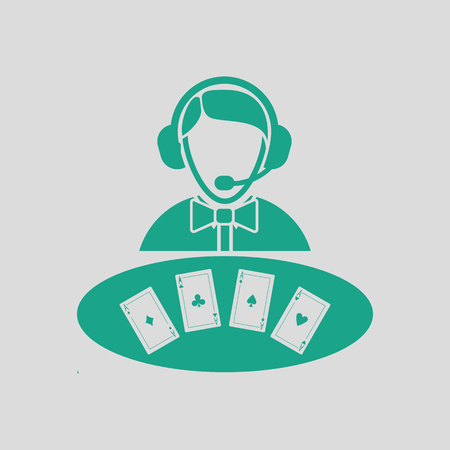 Casino dealer icon. Gray background with green. Vector illustration.