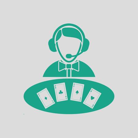 Icono de distribuidor de casino. Fondo gris con verde. Ilustración vectorial Foto de archivo - 70230877