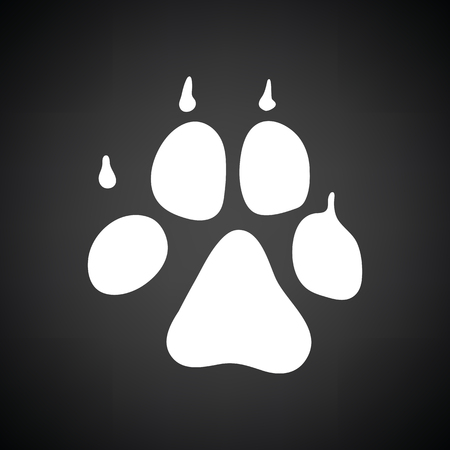 Dog trail icon. Black background with white. Vector illustration. Illustration