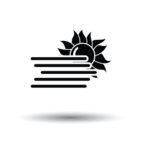 Fog icon. White background with shadow design. Vector illustration.
