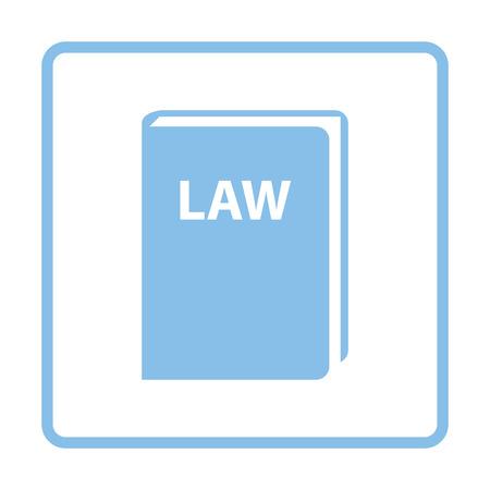 blue book: Law book icon. Blue frame design. Vector illustration.