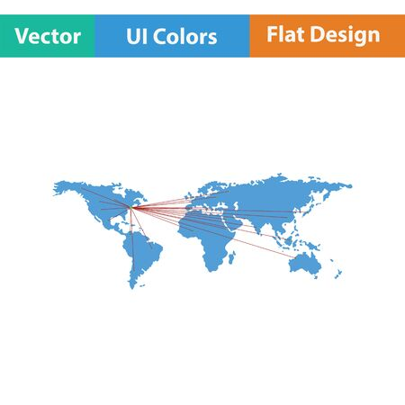 directions icon: Map with directions to all part of the World. Logistic concept icon. Flat design. Vector illustration.