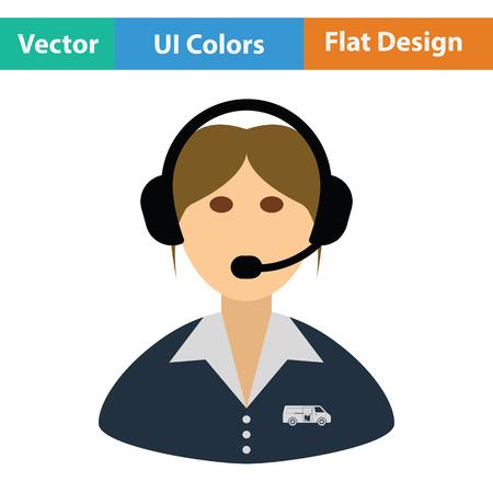 Logistic dispatcher consultant icon. Flat design. Vector illustration.