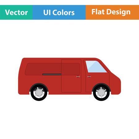 waggon: Commercial van icon. Flat design. Vector illustration. Illustration