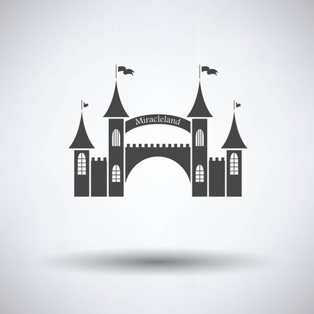 Amusement park entrance icon on gray background, round shadow. Vector illustration. Illustration