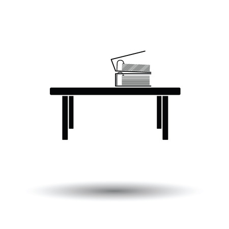 wood working: Office low table icon. White background with shadow design. Vector illustration.
