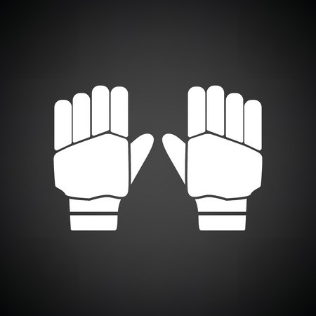 Pair of cricket gloves icon. Black background with white. Vector illustration. Illustration