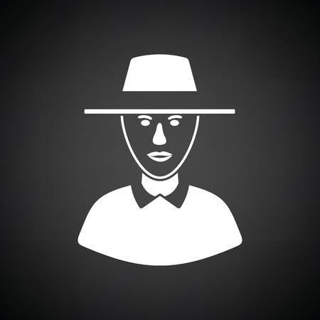 umpire: Cricket umpire icon. Black background with white. Vector illustration.