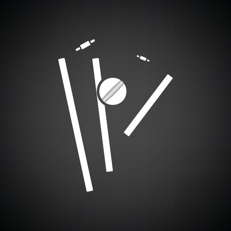 bails: Cricket wicket icon. Black background with white. Vector illustration.
