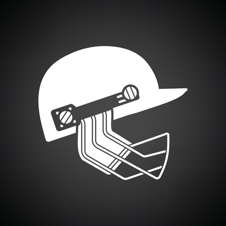Cricket helmet icon. Black background with white. Vector illustration.